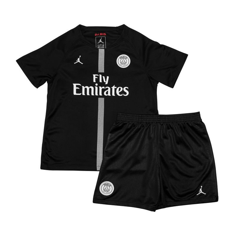 Kids PSG x Jordan Soccer Jerseys 2018-19 Third Black Football Kits (Shirt + Shorts)
